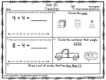 Kindergarten NEW TEKS TX Tornado Spiral Review Part 2: Sets 13-18  POD&Calendar