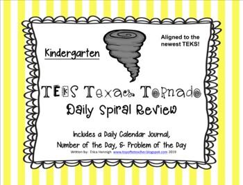 Kindergarten NEW TEKS TX Tornado Spiral Review Part 3: Sets 19-24  POD&Calendar