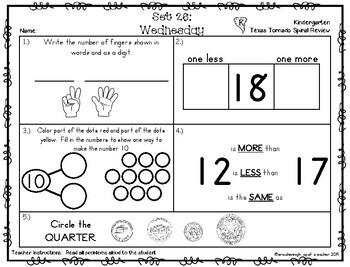 Kindergarten NEW TEKS TX Tornado Spiral Review Part 4: Sets 25-30  POD&Calendar