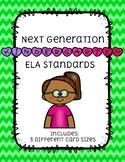 Kindergarten NEXT GENERATION ELA standard CARDS (squiggly border)