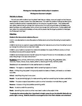 Kindergarten NGSS Interdependence Unit Plans