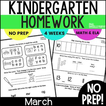 March Kindergarten NO PREP Math and Literacy Homework