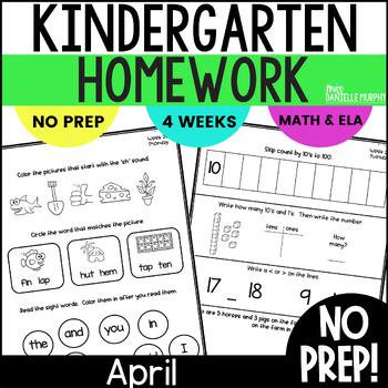 Homework Math and Literacy Weeks 29-32 (April)--Kindergarten