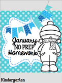 Kindergarten NO PREP January Homework Print and Go