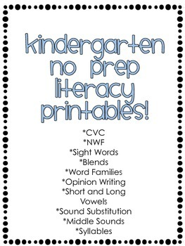 Kindergarten NO PREP Literacy Worksheets!