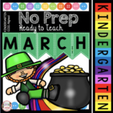 Kindergarten March Math and ELA Worksheets - St. Patrick's Day Activities