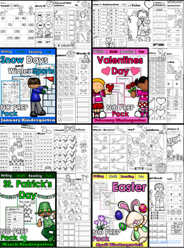 Kindergarten NO PREP Monthly and Holiday MEGA Bundle! (NEW PRODUCT 50% OFF SALE)
