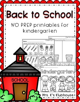 Kindergarten NO PREP Printables for the Beginning of the Year