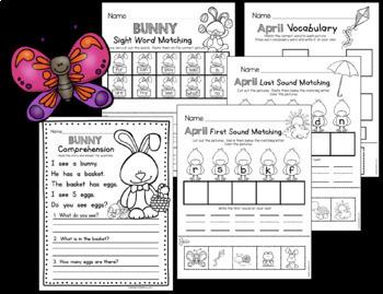 Kindergarten Math and Language Arts Activities - APRIL - Easter Worksheets
