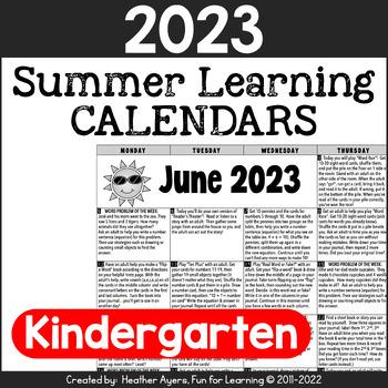 2018 Kindergarten NO PREP Summer Activity Calendars