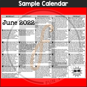 2019 Kindergarten NO PREP Summer Activity Calendars