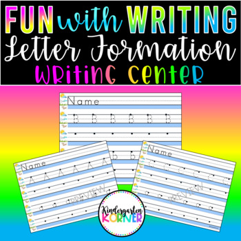 Kindergarten NO PREP Writing Center ABC Alphabet Handwriting Practice Dry Erase