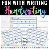 FUN with Writing Centers NO PREP Writing ABC Alphabet Handwriting Practice
