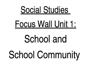 Kindergarten NYC DOE Social Studies Unit 1 Focus Wall School Community