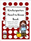 Kindergarten Need To Know Book