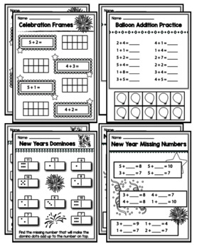Kindergarten New Years 2018 Math Packet