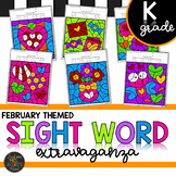 Kindergarten Sight Word Activities Color by Code - February - Valentine's Day