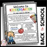 Kindergarten Newsletter - Meet the Teacher - Open House - Back to School