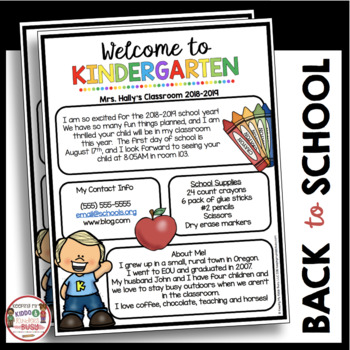 Kindergarten Newsletter - Meet the Teacher - Open House - Back to School