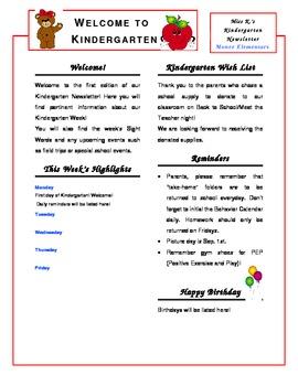Kindergarten Newsletter Template by Miss K. | Teachers Pay ...