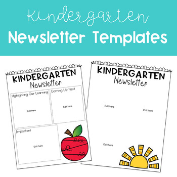 Kindergarten Newsletter Template Editable Teaching Resources ...