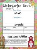 Kindergarten Newsletter Templates with Home Activities