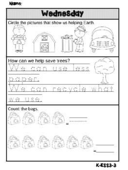 Kindergarten Next Generation Science, Math & Literacy FREEBIE 1 Week