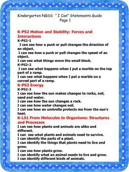 Kindergarten Next Generation Science Standards Interactive Notebook