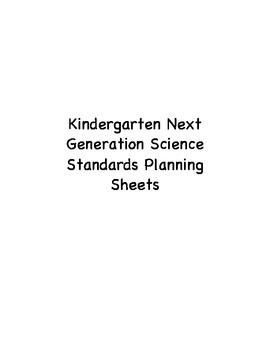 Kindergarten Next Generation Science Standards Planning Sheet