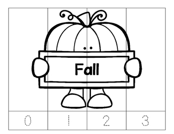 Kindergarten No Prep Puzzles- Count, Trace, Color, Cut, and Paste-3 K.CCSS -Fall