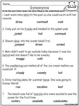Kindergarten No Prep Summer Literacy Review