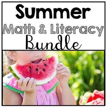 Kindergarten No Prep Summer Math & Literacy Bundle