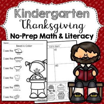 Kindergarten No Prep Thanksgiving Worksheets