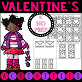 Kindergarten No Prep Valentine's Day Literacy Activities