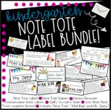 Kindergarten Note Tote Labels Bundle