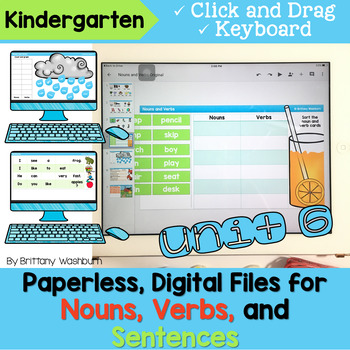 Kindergarten Nouns, Verbs, and Sentences Digital Activities