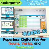 Kindergarten Nouns, Verbs, and Sentences Digital Activities