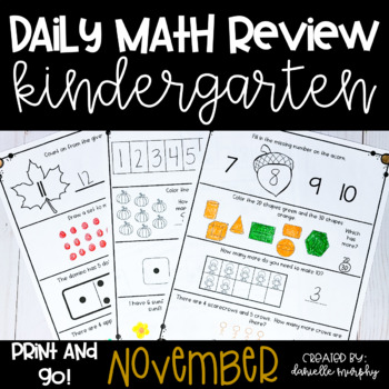 November Kindergarten Daily Spiral Review Math Journal