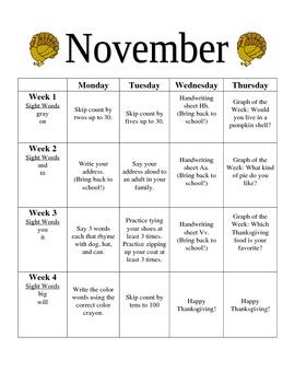 Kindergarten November Homework