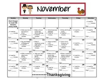 Kindergarten November Homework Calendar-Editable