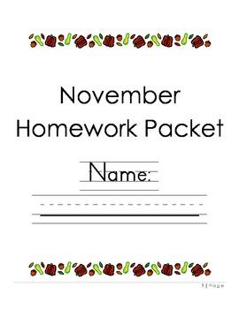 Kindergarten November Homework Packet
