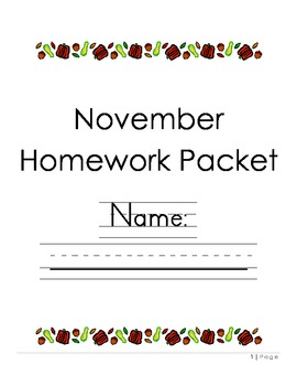 Kindergarten November Homework Packet