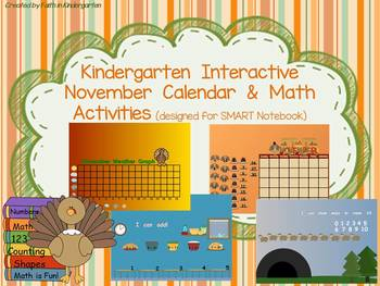 Kindergarten November Interactive Calendar & Math Activities for SMART Notebook