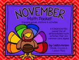 Kindergarten November Math Packet - Stations, Activities,