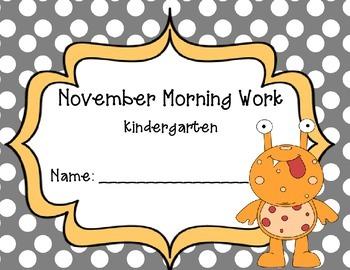 Kindergarten November Morning Work