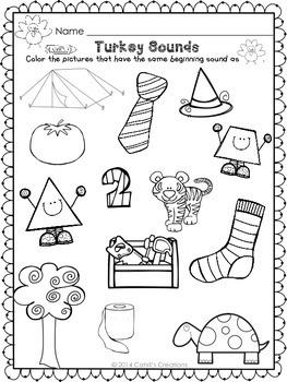 Kindergarten November Printables - ELA and Math