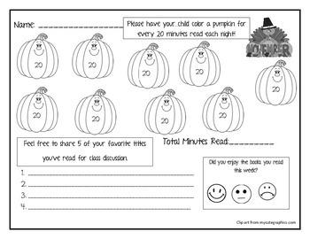 Kindergarten November Reading Log