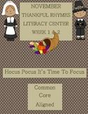 Kindergarten Rhymes Literacy Center Week 1 & 2