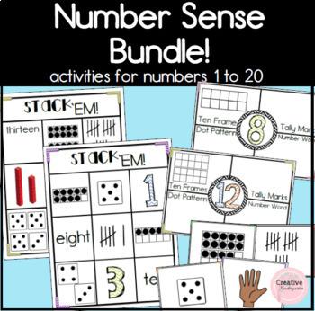 Kindergarten Number Activities to Practice Number Sense Bundle for 1 to 20