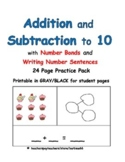 Kindergarten Number Bonds: Addition and Subtraction to 10: Set 3